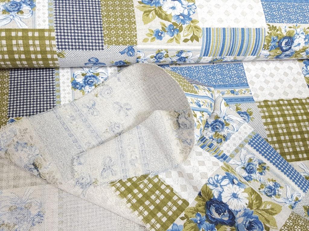 Dekoračná látka modrý patchwork 140 cm  c324bba7b47