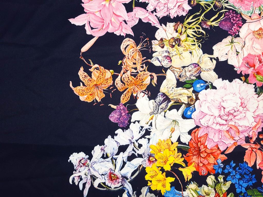 87202408b9b4 Textillux.sk - produkt Spoločenská šatovka bordúra farebná zmes kvetov 150  cm