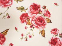21278eaca293 Bavlnená látka ruža s hnedými listami 140 cm  11267