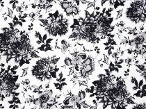 f14569ef24bb Bavlnený satén čiernosivý kvet 145 cm  10947